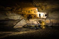 Caving in Alabama (Mark Wingfield) Tags: cave alabama north outdoors water flowstone flash waterfall rimstone nikon d750 tripod long lightpaint paint light iso exposure 8mm rokinon rocks girl jessica cavern