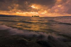 sunset 8219 (junjiaoyama) Tags: japan sunset sky light sun cloud weather landscape golden orange yellow contrast colour bright lake island water nature winter rays beams wave