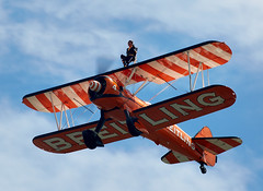 Wing Walkers (Bernie Condon) Tags: aerosuperbatics aerobatic formation wingwalking boeing stearman biplanes breitling girls women fbo farnborough airshow display flying aircraft aviation