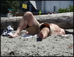 beach sun bather (D G H) Tags: dgh daveheston seattle alki summer sunbathing shirtless shorts beach candid male barefoot feet toes