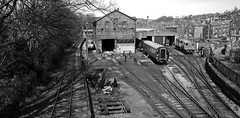 Haworth Sheds in Mono (Gerry Hat Trick) Tags: kwvr flying scotsman loco locomotive steam station shed sheds railway preserved 60103 blackwhite black white mono monochrome