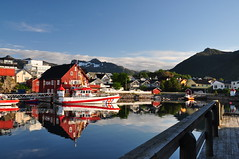 Norway Lofoten islands (daveknight1946) Tags: norway svolvar lofotenislands water boat mountains reflection houses cabins verander greatphotographers sundaylights landscape mr