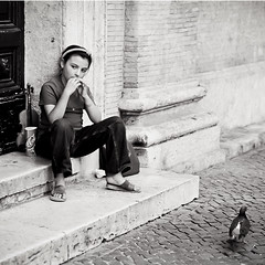 LIttle Gipsy (Masssimiliano Maggi) Tags: street gipsy child bw maxmaggi people persons rome italy musician