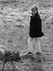 Henry & Jasper (thatSandygirl) Tags: blackandwhite bw portrait boy pet dog coat winter outdoor walking child person cattledog dogwalker
