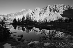 Day 26 of 40; The Shot I Liked Better (photography by Derek G) Tags: highsierra mountains mountain lake tarn pond water trees blackandwhite landscape sunrise wilderness backpacking hiking camping anseladamswilderness yosemite meadow