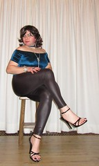 leggings and a velvet blue top (Barb78ara) Tags: leggings leatherlook leatherlookleggings bluetop velvet stilettoheels stilettohighheels highheels heels sandals stilettosandals paintednails paintedtoes strappyheels strappysandalettes