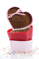 heart shape muffins (wangyifeng) Tags: baked birthday cake candy chocolate decorate delicious dessert food gourmet heart homemade muffin snack sprinkles sugar sweet tasty valentine white yummy 14 brown cocoa colour container cook cookies cupcakes day february gift spoon mint kitchen love lovers romantic romanticism silicone sample text isolated pile sprinkle