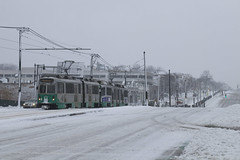 Streetcars in the Snow (I) (imartin92) Tags: boston massachusetts mbta massachusettsbaytransportationauthority greenline b branch trolley train kinkisharyo type7 commonwealthavenue bostonuniversity snow winter