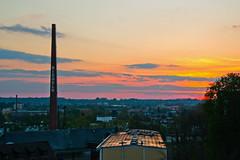 R. I. P., dear Nikon D3100! (echumachenco) Tags: sunset brewery riegele augsburg chimney sky cloud red orange yellow city tree april rip nikond3100 bavaria bayern germany deutschland brauerei beer bier