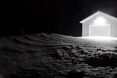 morning dunes (triciaamore) Tags: dawn 365project dark outside nature blizzard nightlight night earlymorning morning beforesunrise garage structure dunes snow snowy windy blowing snowstorm