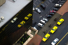 Cab Stand (Blinking Charlie) Tags: taxi cab taxicab lookingdown urbanlandscape modernistarchitecture mirroredglass tacoma washingtonstate usa canonpowershotg9x parkinglot broadway 2016