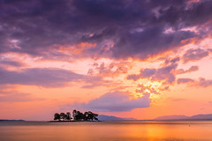 sunset 7811 (junjiaoyama) Tags: japan sunset sky light sun sunshine cloud weather landscape orange purple contrast colour bright lake island water nature spring