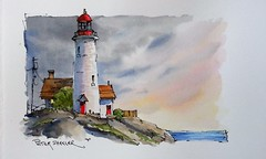 """""""Sunset Lighthouse"""" Line and Wash Watercolor. New YouTube Video. (Peter Sheeler) Tags: penandink painting simple wash easy draw tutorial howto help tips tricks beginner watercolour watercolor penandwash lineandwash drawing peter sheeler fun quick sketch sheelerart englishsubtitles shadows urbansketch waterbrush lamy higgins pigma twsbi uniball farm rural fall countrysidelandscapesunsetdusklighthouseocean"""