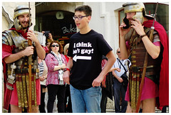 """""""But what about the one on the right?"""" - Palace of Diocletian, Split, Croatia (TravelsWithDan) Tags: tourist romansoldiers photoop tshirt candid streetphotography split croatia diocletianspalace youngman"""