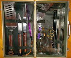 20161026 2144 - kit restoring complete - Wickerman-found BBQ set rust-removed, box restored, re-appropriated for violet wand play (Rev. Xanatos Satanicos Bombasticos (ClintJCL)) Tags: 20161026 201610 2016 wickerman wickerman2015 wickermanburn wickermanburn2015 barbecueset set barbecue box metalbox barbecuespatula spatula barbecueknife knife strainer brassknuckle brassknuckles knuckle knuckles brass frenchtickler tickler french headmassager massager head barbecuetongs tongs wand violetwand restoration kitbox restored drawerroller roller drawer virginia alexandria clintandcarolynshouse upstairs