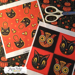 Johanna-Parker-Halloween-Swatches (Johanna Parker Design) Tags: johannaparker surfacedesign illustration pattern patterndesign graphicdesign fabric giftwrap wallpaper whimsical swatch sewcute sew johannaparkerdesign halloween halloweenpattern halloweenfabric owl blackcat floral flowers