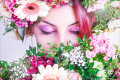 Flowers (Hausinger-Foto) Tags: flower woman women girl nice sexy look down color flowers think make up red hair colors our world