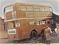 London transport RT158 crash January 1949. (Ledlon89) Tags: london bus buses transport lt lte londonbus londonbuses londontransport aecregent rt rtbus parkroyal vintagebus 1940slondon prefab walthamstow
