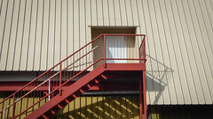 Roof Exit (Theen ...) Tags: adelaide administrative angled bannister beige door fireescape foodland headquarters hq inset lumix metal mustard office rails red roof shadows stairs steps theen torrensville white yellow