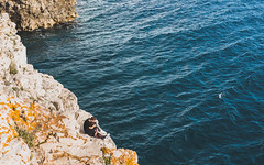 Whispers by the sea (matej.duzel) Tags: sea adriatic pula croatia verudela istra blue water people boy girl spring day leica panasonic lumix 25mm natural rock
