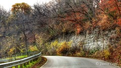 Around the Corner (Justin Loyd Photography) Tags: road curve tree cheerful colorful autumn fall iowa pammelpark photography flickr canon70d 18135stm nice beautiful bend path limestone