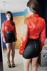 Just checking my outfit out in the mirror (Miss Nina Jay) Tags: blouse skirt trannie heels tights