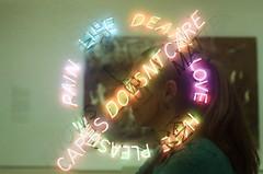 Love Doesn't Care. (waarondaniel) Tags: doubleexposure multipleexposure film 35mm kodakretinaiia kodak cinestill cinestill800t analog sanfrancisco sfmoma museum art modernart travel wife love woman indoor inside filmisnotdead filmisalive ishootfilm