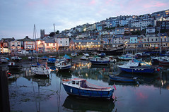 D13029.  Brixham Harbour. (Ron Fisher) Tags: brixham southdevon devon westcountry westofengland torbay england gb greatbritain uk unitedkingdom europe pentax pentaxkx coast devoncoast sea sunset water ocean sky cloud boats evening harbour