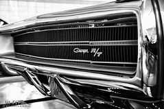 Gleaming Charger RT (Hi-Fi Fotos) Tags: 1970 dodge charger rt chrome hidden headlight front bumper mopar badge grille american classiccar musclecar bw mono blackandwhite shine gleam jewel clean nikon d5000 hififotos hallewell