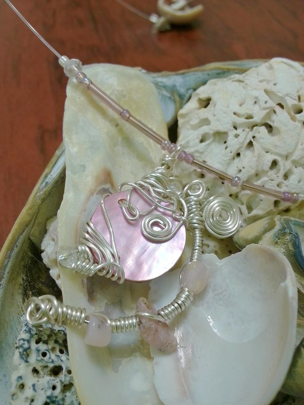 Floating Wire Wrapped Shell and Pink Opal Necklace with Swarovski Rondelle accents - Not available for sale. Please contact me for special requests.