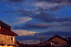 Before the Storm (davide.taliento) Tags: city blue light sunset sky italy cloud storm up weather clouds buildings torino europe italia wind colourful turin chimneys comignoli