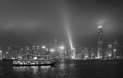 Hong Kong Symphony of Lights (ETNevins) Tags: blackandwhite hongkong blackwhite victoriaharbour 2014
