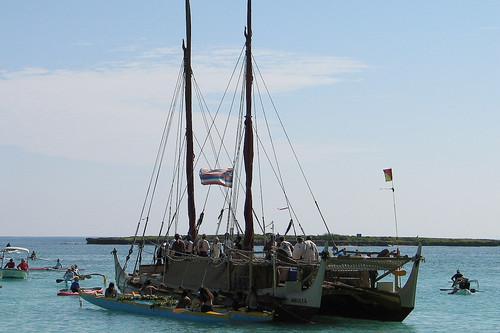 Hōkūle'a (Hokulea) at Lanikai Beach, 2005