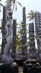 gods among us (BarryFackler) Tags: park beautiful wall outdoors hawaii polynesia cellphone landmark kii tropical attraction heiau 2014 cityofrefuge nationalhistoricalpark historicsite puuhonuaohonaunau placeofrefuge puuhonua honaunau puuhonuaohonaunaunationalhistoricalpark hawaiicounty southkona hawaiiisland hawaiianculture westhawaii hawaiianhistory bettybowen bettyfackler