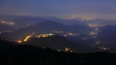 ~ Wuzhi Mountain,  Night view with Light Fog  @ Taipei City~ (PS~~) Tags: morning travel pink light sky mist mountain mountains color fog night clouds sunrise canon landscape photography dawn lights twilight cityscape silent view image hill taiwan atmosphere mount valley taipei nightscene rays nightview lightning temperature   hdr  valleyview crepuscularrays pinkclouds crepuscular nightexposure   nightcity    landscapephotography             rosyclouds           nightcoloredglaze