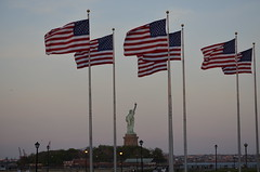 Statue of Liberty and U.S. Flags (sblinn) Tags: park usa statue america liberty newjersey jerseycity flag nj flags american jersey