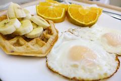 (Harv P.) Tags: fruit breakfast banana panasonic eggs oranges waffle simplefood lumixlx7 flickrandroidapp:filter=none