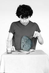 Day 319/365 Hunger (Sebastian Dvila Art) Tags: boy portrait selfportrait art me rock stone sebastian surrealism knife surreal fork hunger meal 365 autorretrato davila 365days