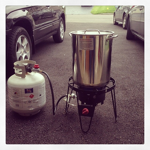 Brew day - it's always threatening rain when I brew with this setup outdoors.