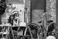 Loading Zone (screenstreet) Tags: blackandwhite streetphotography civic cafes petrieplaza silverefexpro nikon1v1 nikonv1