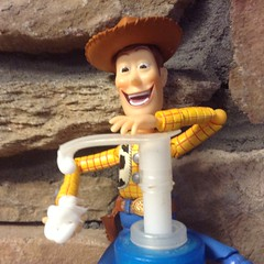 Creepy Revoltech Woody with Lotion Bottle. This is the Famous Woody Figure by Revoltech with moveable posable eyes! And a Creepy Troll Face Smile. Pics by Mike Mozart if TheToyChannel and JeepersMedia on YouTube #RevoltechWoody #Revoltech #Woody #Meme (JeepersMedia) Tags: woody meme revol