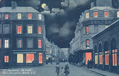 757. Fecamp. - la nuit. Rue Jacques Huet (c.1907) (pellethepoet) Tags: street windows moon france girl architecture kids night clouds children postcard lj photograph enfants cartepostale fécamp cartespostalesanciennes ruejacqueshuet