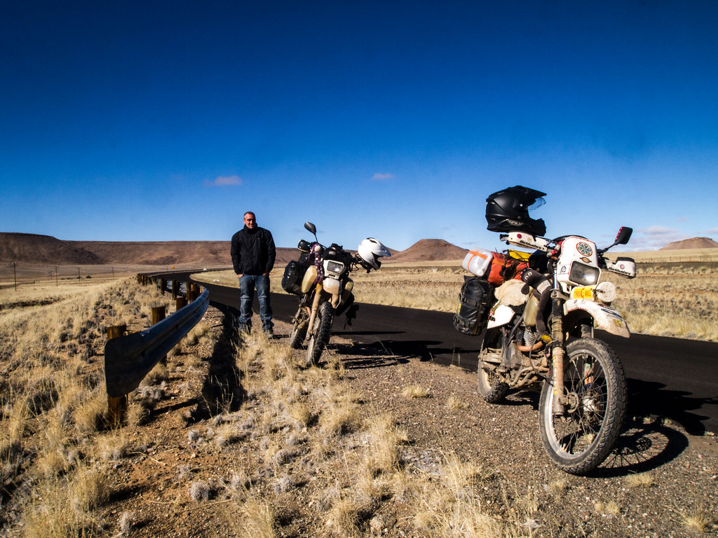 Mike and the bikes, Namibia