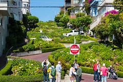 San Francisco - Lombard Street (MikePScott) Tags: sanfrancisco california road street camera flowers trees sky plants usa sign logo lens highway boulevard unitedstates motorway flag banner hills freeway avenue russianhill lombardstreet topography builtenvironment architecturalfeatures nikond600 nikon28300mmf3556 featureslandmarks