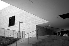 M is for Museum (Viejito) Tags: b bw art monochrome leuven museum architecture stairs canon geotagged blackwhite arquitectura arte belgiq