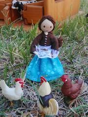 Miniature doll farmers wife (wildflowertoys) Tags: woodentoys dollhousedolls toybarn bendydoll naturaltoys waldorftoys elvesandangels dollhousefamily toystable wildflowerinnocence