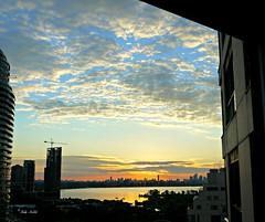 Sunrise in Toronto, through my window  (1 of 4) (Trinimusic2008 - Stay blessed) Tags: morning light sky urban sun toronto ontario canada nature water thanks clouds sunrise rising july etobicoke to today gratitude sunligh 2014 trinimusic20
