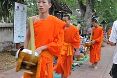 A young monk walks by without expression (oldandsolo) Tags: southeastasia earlymorning buddhism tourists lp laos luangprabang buddhistmonk laopdr makingmerit unescoworldheritagecity buddhistreligion takbat buddhistfaith morningalmsgivingritualluangprabang morningalmsgivinginluangprabang