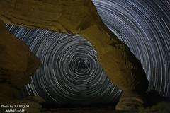 Startrails (TARIQ-M) Tags: sunset mountains art silhouette rock sunrise landscape star sand desert ripple dunes wave mount camel galaxy riyadh saudiarabia hdr startrails milkyway canonef1635mmf28liiusm startrils canoneos5dmarkiii tariqm tariqalmutlaq kingofdesert tariqm1