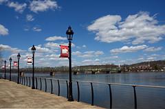 River Walk (plecojan) Tags: bridge water lamp clouds fence river vanishingpoint newjersey pennsylvania walk five delawareriver lampposts 2014 1002014 100pictures 81river 100pix2014